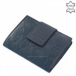 Divatos levél mintával díszített, kis méretű kék női bőr pénztárca, mely a többi pénztárcához hasonlóan valódi bőr alapanyagból készült.