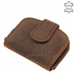 Koptatott hatású, barna színű valódi marhabőrből készült, kis méretű női bőr pénztárca, stílusos díszdobozba csomagolva.