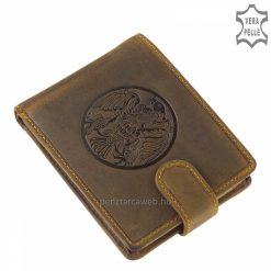 Egyedi mintás GreenDeed barna színű férfi bőr pénztárca természetes karakterű, minőségi marhabőrből gyártva. Hozzáillő díszdobozban küldjük.
