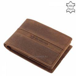 Kellemes tapintású, valódi marhabőrből készült sportos kialakítású, vintage stílusú férfi bőr pénztárca barna színben.