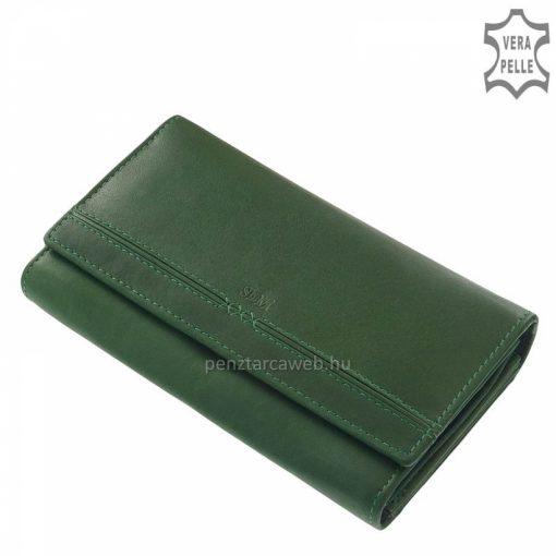 Első osztályú minőségi bőrből készült nagy méretű, zöld színű női bőr pénztárca, szolid ugyanakkor rendkívül nőies megjelenéssel.