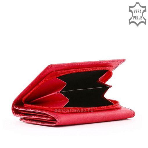 Minőségi SLM márkajelzésű kisméretű praktikus női bőr pénztárca igazi bőrből rózsaszín külsővel, a fedlapon varrott dizájn elemmel.