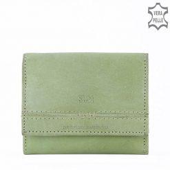 SLM márkajelzésű kisméretű minőségi női bőr pénztárca valódi bőrből világos zöld színben. Hasznos és divatos társ a mindennapokban!