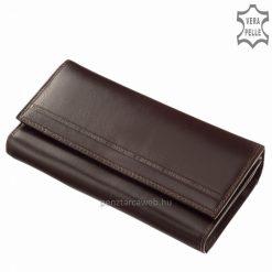 Minőségi valódi bőrből készült praktikus lehetőségeket tartogató nagy méretű bőr pénztárca barna színben az S. Belmonte márkacsaládtól.
