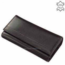 Minőségi valódi bőrből készült praktikus lehetőségeket tartogató nagy méretű bőr pénztárca fekete színben az S. Belmonte márkacsaládtól.