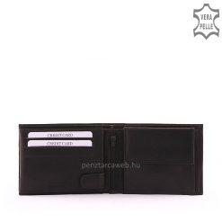 Valódi bőrből készült klasszikus stílusú férfi bőr pénztárca fekete színben amely S. Belmonte márkajelzéssel lett ellátva.