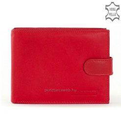 Belmonte márkajelzésű, valódi, minőségi bőr felhasználásával készített piros színű női pénztárca modell, melyet átkapcsolóval lehet zárni.