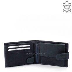 S. Belmonte márkajelzésű, valódi, minőségi bőr felhasználásával készített sötétkék színű férfi pénztárca modell, az elején átkapcsolóval.