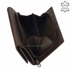 SBelmonte kis méretű, valódi bőr női pénztárca klasszikus nőies barna színárnyalatban és kiemelkedően minőségi kialakításban.