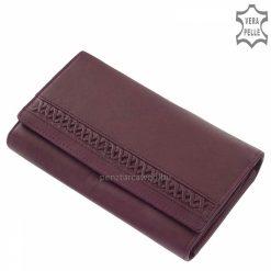Egyedi felületi kialakítású, minőségi valódi marhabőrből készült S.Belmonte márkajelzésű nagy méretű női bőr pénztárcalila színben.