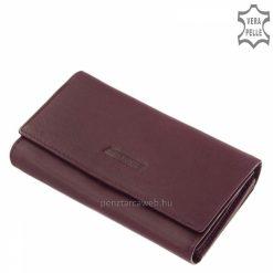 Kiváló, minőségi nappa bőr felhasználásával készült nagy méretű, lila színű klasszikus megjelenésű női pénztárca. Ajándék díszdobozzal.