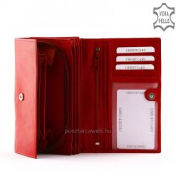 Kiváló, minőségi nappa bőr felhasználásával készült nagy méretű, piros színű klasszikus megjelenésű női pénztárca. Ajándék díszdobozzal.