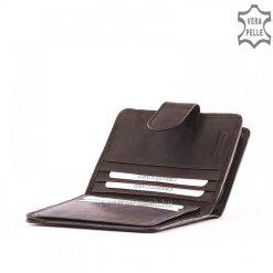 Finom kidolgozású valódi nappa bőrből készült kis méretű, könnyen kézbe fogható, minőségi női bőr pénztárca fekete színben.