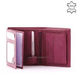 S Belmonte márkajelzésű, praktikus kialakítású női bőr pénztárca valódi bőrből lila színben.Fonott dizájn elemmel, a divatos külsőért.