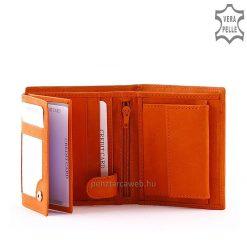 S Belmonte márkajelzésű, praktikus kialakítású női bőr pénztárca valódi bőrből narancssárga színben.Fonott dizájn elemmel a divatos külsőért.