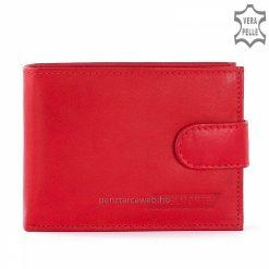 Puha tapintású, kiváló minőségi bőrből készült, kisméretű, klasszikus kártyatartós női bőr pénztárca, divatos piros színben.