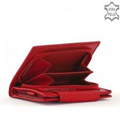 Kényelmesen kezelhető kis méretű, női pénztárca piros színben, amely valódi bőr felhasználásával készített minőségi termékünk.
