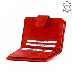 Finom kidolgozású valódi nappa bőrből készült kis méretű, könnyen kézbe fogható, minőségi női bőr pénztárca piros színben.