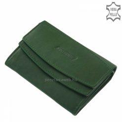 S.Belmonte márkajelzésű kis méretű női bőr pénztárca igazi bőrből zöld színben, praktikus belsővel. Dupla rekeszes papírpénztartóval.
