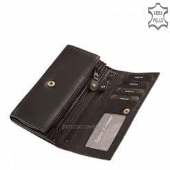 Brifkó nagy méretű, fekete színű, klasszikus női bőr pénztárca kellemes tapintású igazi marhabőrből gyártva. Díszdobozos termékünk.