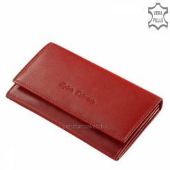 Exkluzív, dobozba csomagolt, praktikusan használhatónagyméretű pirosszínűnői bőr pénztárca finom tapintású minőségi bőrből legyártva.