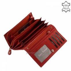 Brifkó nagy méretű,piros színű, klasszikus női bőr pénztárca kellemes tapintású igazi marhabőrből gyártva. Díszdobozos termékünk.
