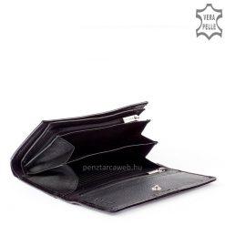 Exkluzív fényes fekete fedelén valódi Swarovski kristály köves díszítéssel készült női bőr pénztárca valódi bőrből. Patenttal zárható fedél.