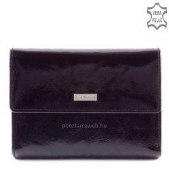 Kívül magas minőségű fényes marhabőrből, belül puha marha nappa bőrből készült patenttal zárható női bőr pénztárca, elegáns fekete színben.