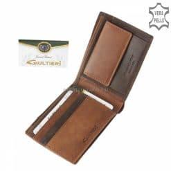 Egy új, divatos valódi bőr férfi pénztárca modellt terveztünk Giultieri logóval, barna színben, mely extra díszdobozban érkezik.