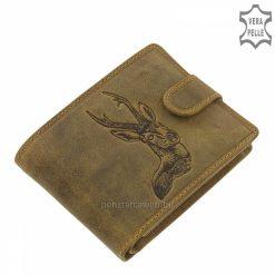 Prémium kategóriás GreenDeed vadász férfi bőr pénztárca természetes karakterű minőségi marhabőrből gyártva, őz mintás fedéllel.