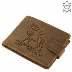 GreenDeed férfi vadász mintás pénztárca természetes karakterű, barna színű valódi bőr alapanyagból gyártva. Díszdobozos modell.