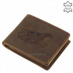 Kiváló minőségű, valódi marhabőrből készült vadász mintás férfi bőr pénztárca, barna fedelén egy nádasból figyelő vadászkutya képe látható.