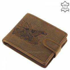 Prémium kategóriás GreenDeed vadász férfi bőr pénztárca kutya mintás modell, természetes karakterű marhabőrből gyártva, díszdobozban.