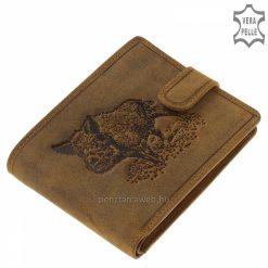 Magas minőségű GreenDeed vadász férfi bőr pénztárca barna színben, mintával, természetes karakterű, valódi marhabőrből gyártva.