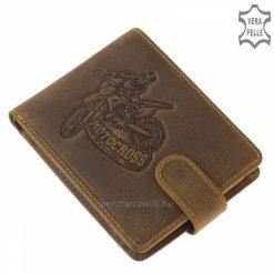 Minőségi, valódi bőrből készült barna színű, vagány motoros mintával díszített férfi bőr pénztárca, mely a GreenDeed termékcsalád darabja.