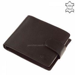 Giultieri márkás díszdobozban, klasszikus fekete színben megvásárolható férfi bőr pénztárca, praktikus patentos átkapcsoló füllel.