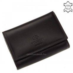 Exkluzív, prémium minőségű, elegáns fekete színű női bőr pénztárca igényes, valódi marhabőrből. Fedele patenttal záródik.