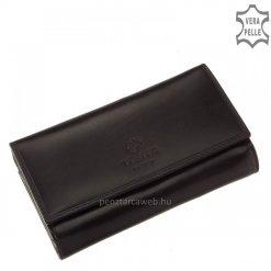 Kitűnő minőségű, elegáns bársonyos fényű bőrből készített klasszikus fekete színű női bőr pénztárca modell nagy méretű brifkó fazonban.