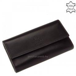 Klasszikus igazi selyemfényű bőrből gyártott nagy méretű női bőr pénztárca fekete színben, fedelén elegáns VESTER LUXURY benyomással.