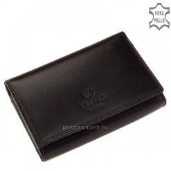 Prémium minőségű, kellemes selyemfényű marhabőrből készültelegáns fekete színűnői bőr pénztárcaVESTER LUXURY márkás modell.