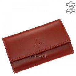 Kitűnő minőségű, elegáns bársonyos fényű bőrből készített klasszikus piros színű női bőr pénztárca modell nagy méretű brifkó fazonban.