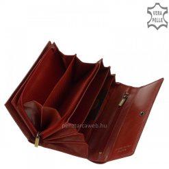 Klasszikus igazi selyemfényű bőrből gyártott nagy méretű női bőr pénztárca piros színben, fedelén elegáns VESTER LUXURY benyomással.