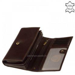 Minőségi, valódi marhabőrből készített VESTER LUXURY márkájú, nagyméretű női bőr pénztárca elegáns barna színben. Díszdobozban.