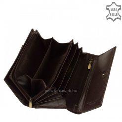 Klasszikus igazi selyemfényű bőrből gyártott nagy méretű női bőr pénztárca sötétbarna színben, fedelén elegáns VESTER LUXURY benyomással.