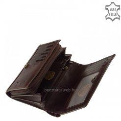 Prémium minőségű, kellemes selyemfényű marhabőrből készült elegáns barna színű kisméretű női bőr pénztárca VESTER LUXURY márkás modell.