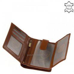 VESTER LUXURY márkájú, prémium kategóriás minőségi bőrből készült közkedvelt világosbarna színű női bőr pénztárca, amely kis méretű modellünk