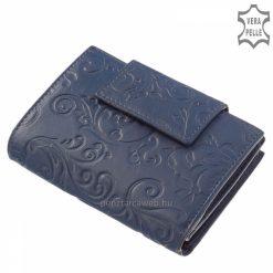 Virág mintás nyomattal díszített, puha minőségi bőr felhasználásával készült, dekoratív kék színű női bőr pénztárca, kis méretű modell.