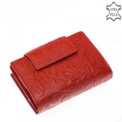 Virág mintás nyomattal díszített, puha minőségi bőr felhasználásával készült, dekoratív piros színű női bőr pénztárca, kis méretű modell.