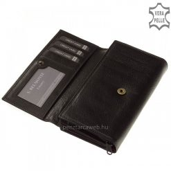Rusztikus felületi kidolgozással rendelkező, prémium bőrből gyártott praktikus női bőr pénztárca fekete színben, díszdobozos kivitelben.