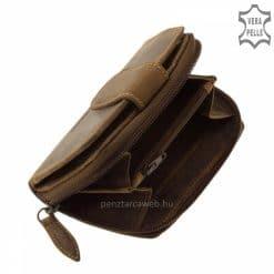 bőr női pénztárca valódi bőrből készült kisméretű modell barna színben OP04